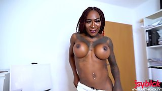 Big Tits African Babe Dirty Talks & Squirts Multiple Times on your Big Cock