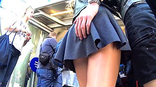 Upskirt while waiting in line