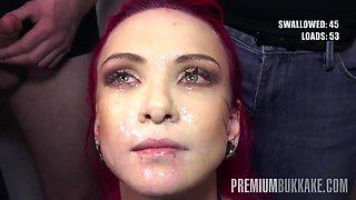 PremiumBukkake - Daniella Ray swallows 74 huge mouthful cumshots