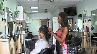 Ebony Hairdresser Dominates Teen Client and Teen Enjoys It