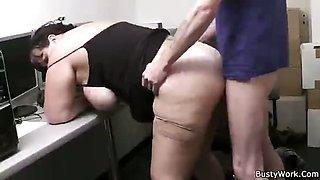 Fat slut banged by boss