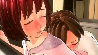 Anime milf doing blowjob in kitchen