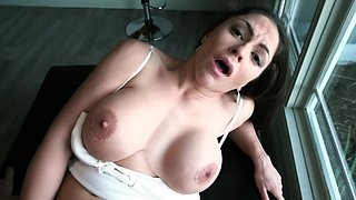 Long-haired Latina pornstar with giant breasts feels dick in vagina