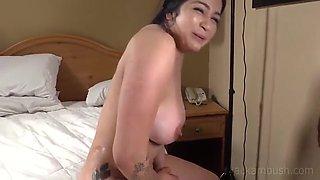 Chubby Inked Arab Adrianna Wrecked By Big Black Cock In Seedy Motel!