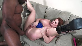 Fatty goes black and satisfies her needy plumper pussy