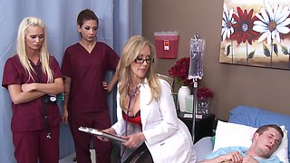 Slutty doctor Brandi Love rides dick as the nurses watch