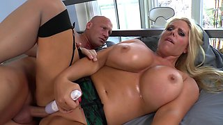 Big milf Karen Fisher oiled up and fucked in the ass