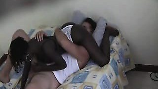 gamy black floozie prepares to fuck in a 69 sex position