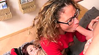 German mother and daughter homemade 3some