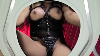 Clitpierced femdom pees all over toilet slave