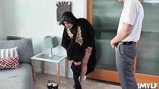 Muslim milf blackmailed to strip and fucked
