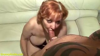 Toothless blowbang with 74years old mom