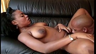 After getting her big tits sucked stunning chocolate lady gives BJ to BBC