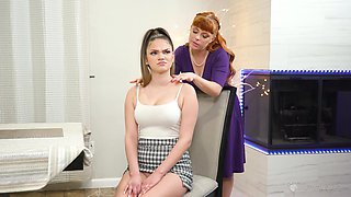 Ginger mommy seduces adult stepdaughter Athena Faris