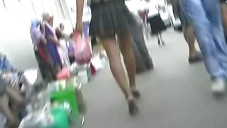 Seducing public with horny up skirt
