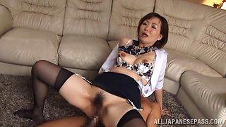 Naughty Asian mature babe Sayuri Kinsei gets hard DP