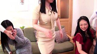 Japanese cougar party harem handjob and blowjob dare