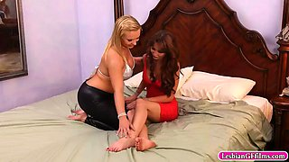 busty sisters fondling and rubbing twats against each other