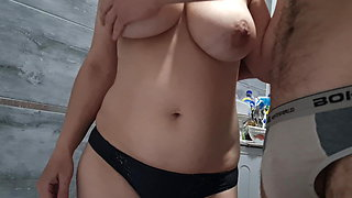 She took his dick out of his panties and jerked it off – 60fps