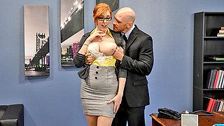 Huge boobs newbie secretary pussy rammed by her horny boss