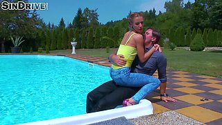 Nasty pool fuck with dressed brunette slut Alexis Crystal