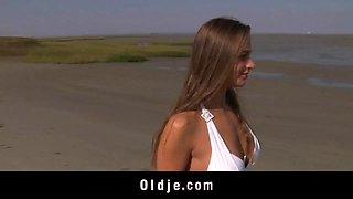 Big titty teen fucks wrinkled Oldman on the beach