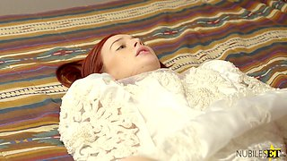 Dude fucks pretty ginger bride Danni Rivers and her lustful girlfriend
