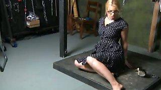 Blonde loves breast bondage
