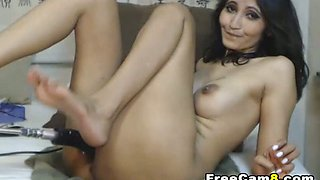 Hot MILF and her Dildo Fuck Machine