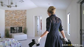 blonde mom gives a hand to her stepson in the shower