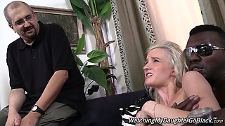 Brutal African man fucks skinny blond chick Skylar Green hard