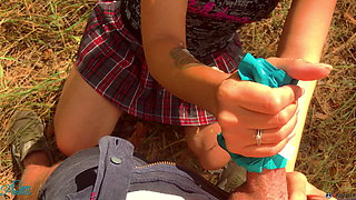 Schoolgirl jerks off me after lessons – cum in panties, pulled up