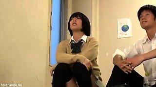 Big titty teen Asuka in a schoolgirl uniform riding a h