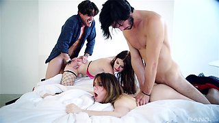 Samantha Bentley and Misha Cross have a blast during a foursome
