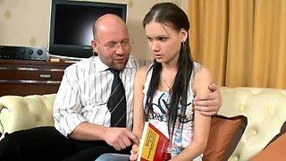 Mischievous russian brunette cutie prepares for blowjob