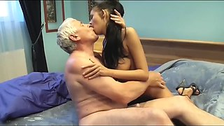 Great body euro brunette with old man