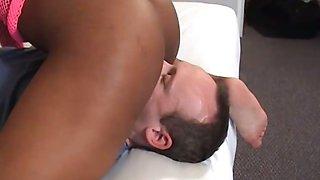 Huge nippled black woman dominates white guy