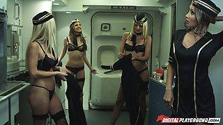 A pilot slams his joystick into a hot flight attendant's tight pussy
