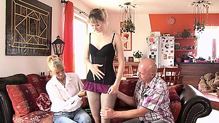 Moms teaching teens in family threesome