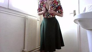 Shy girl stripping at work