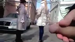 Man showing cock to two girls on a bright spring day