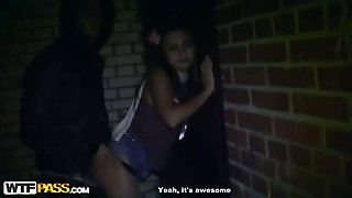 Hard outdoor fuck for a party girl