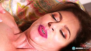 Handsome mature cougar has her way with young guy