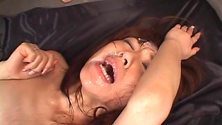 Mao Saito gangbang by plenty ends up covered with cum