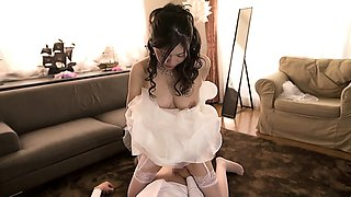 Lustful Asian bride in stockings can't resist a hard cock