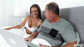 Old daddy doesn't mind of his young wife teaches his sons a sex lesson