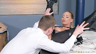 Nicole Aniston is a babe in a tight outfit who loves riding a cock