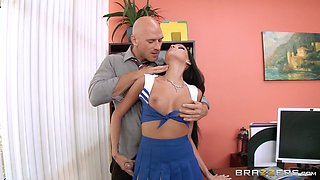 Quickie fucking in the office with a facial ending for Raven Bay