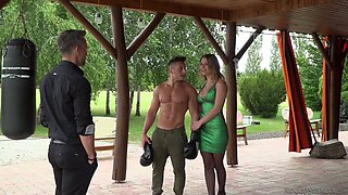 Whorish busty chick Angel Rivas is fucked by two handsome athletic dudes