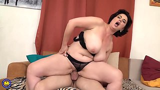 Curvaceous housewife, Aleina is fucking her toyboy and playing with her boobs at the same time